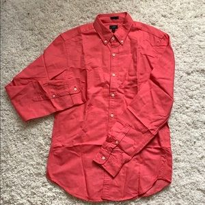 like new J. Crew coral red button up slim fit M